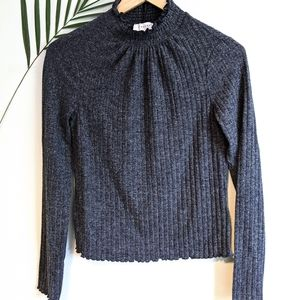Topshop High Neck Knitted Sweater Top Charcoal